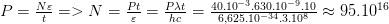 P=\frac{N\varepsilon }{t}=>N=\frac{Pt}{\varepsilon }=\frac{P\lambda t}{hc}=\frac{{{40.10}^{-3}}{{.630.10}^{-9}}.10}{6,{{625.10}^{-34}}{{.3.10}^{8}}}\approx {{95.10}^{16}}